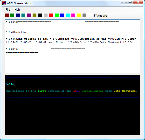 ANSI Screen Editor Screenshot
