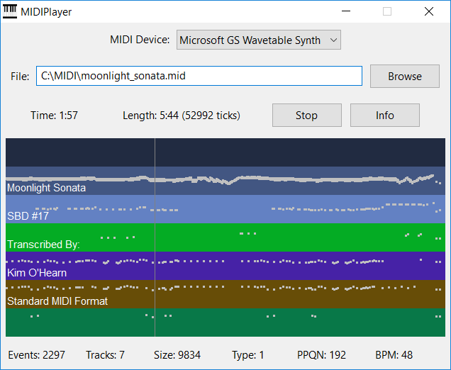 A free MIDI file player with detailed file information display. good Screen Shot