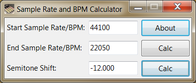 Sample rate and BPM conversion calculator.