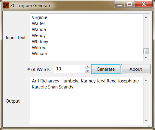 Click to view ZC Trigram Generator 1 screenshot